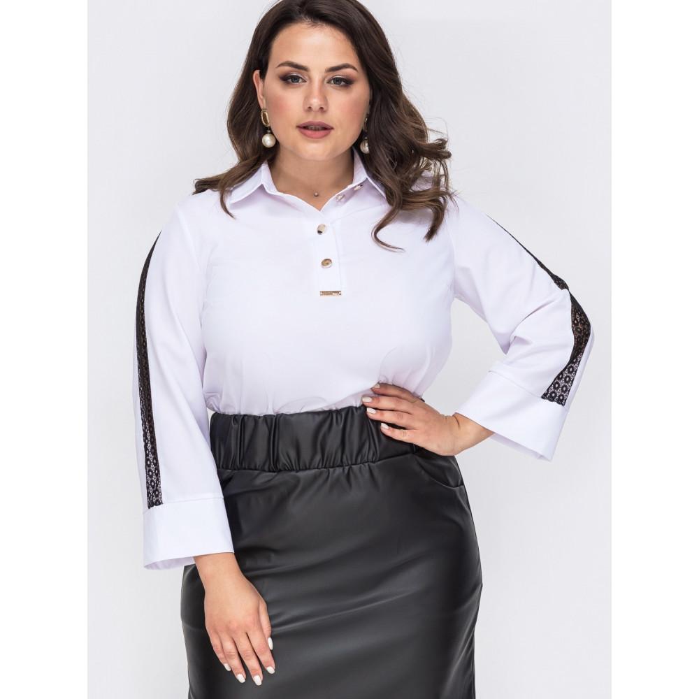 Белая блузка с контрастной вставкой  фото 1