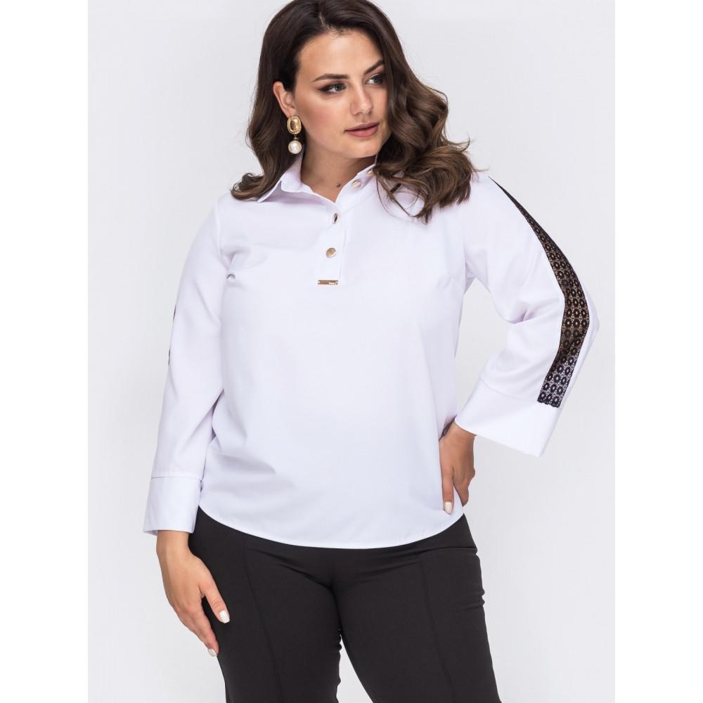 Белая блузка с контрастной вставкой  фото 2