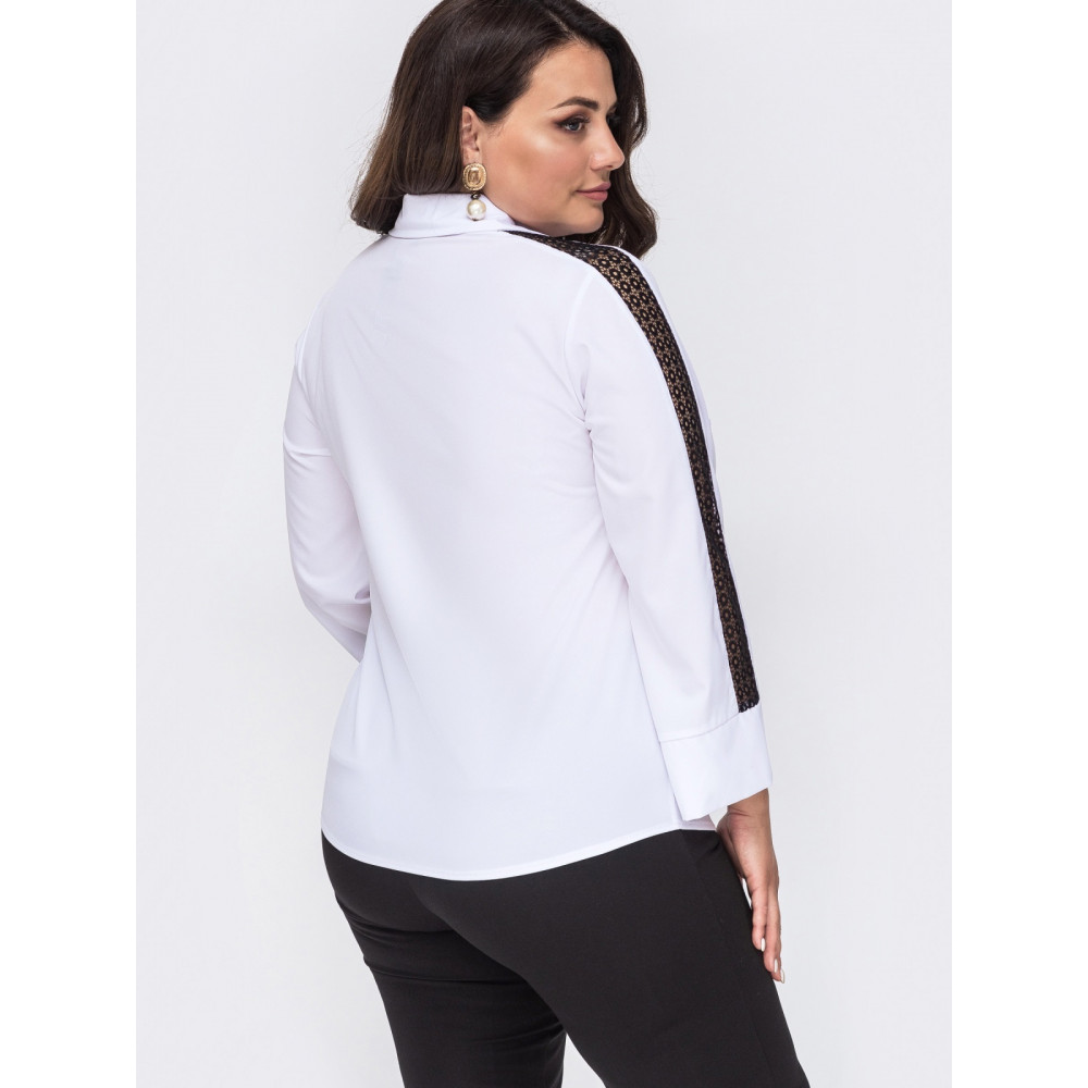 Белая блузка с контрастной вставкой  фото 3