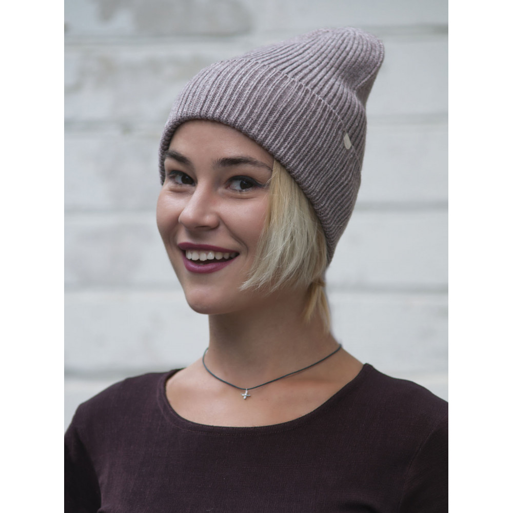 Бежевая меланжевая шапка Йорк фото 2