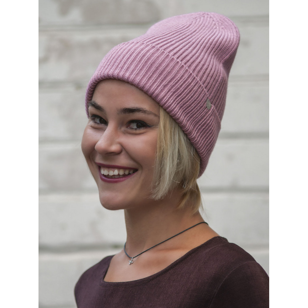 Вязаная розовая шапка Йорк фото 2