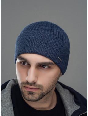 Синяя вязаная мужская шапка Макс
