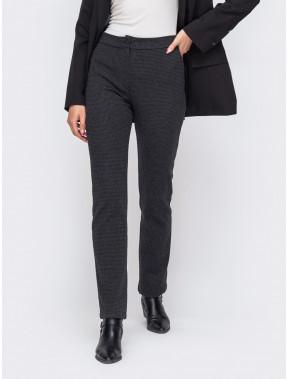 Темные осенние брюки в мелкий принт