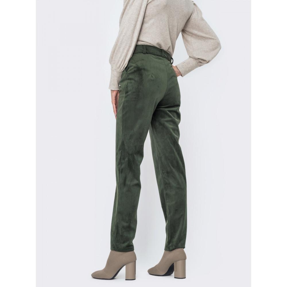 Зеленые брюки из вельвета фото 2
