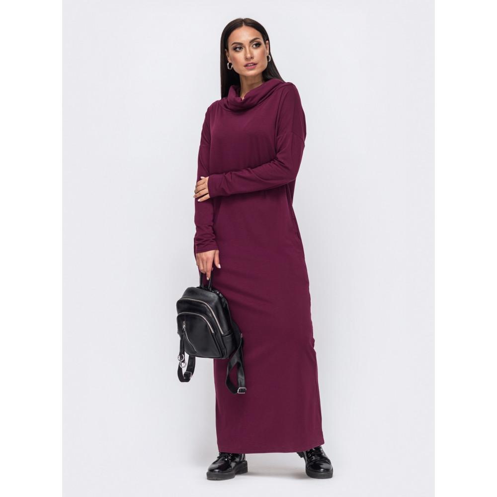 Бордовое уютное платье Forever фото 2