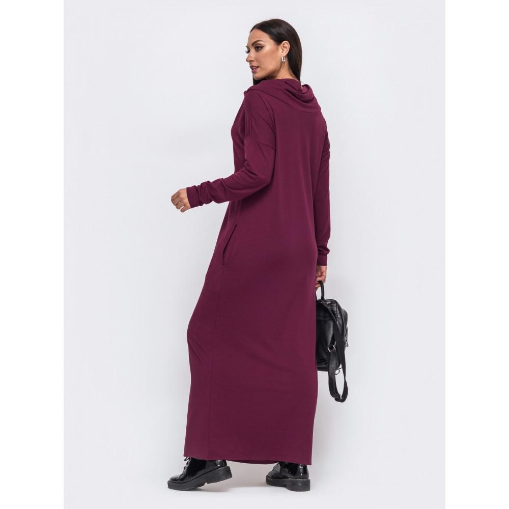 Бордовое уютное платье Forever фото 3