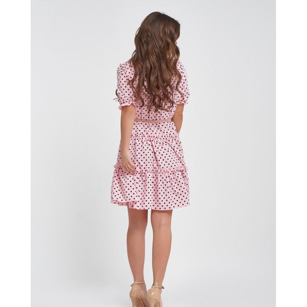 Женственное платье-трапеция в горошек Ирма фото 3
