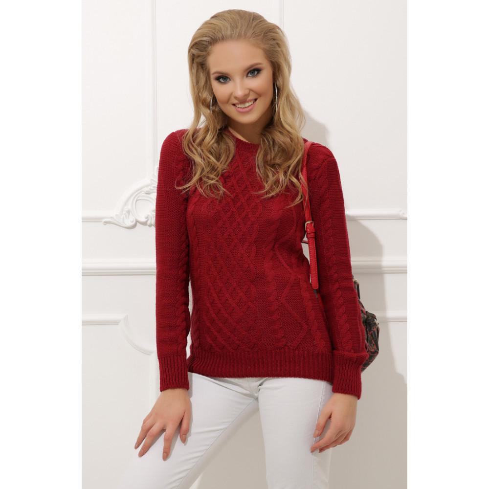 Женский вязаный свитер прямого кроя фото 1