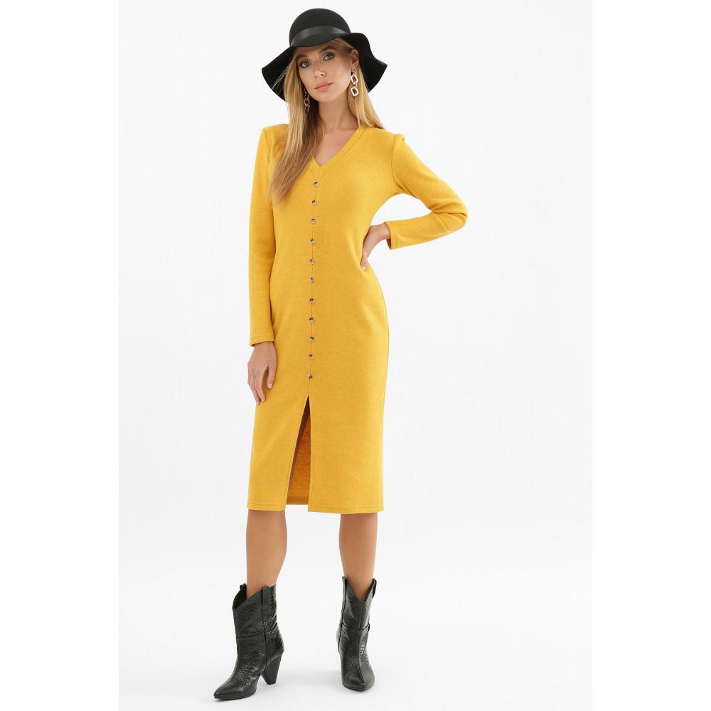 Горчичное платье с разрезом спереди Альвия фото 5