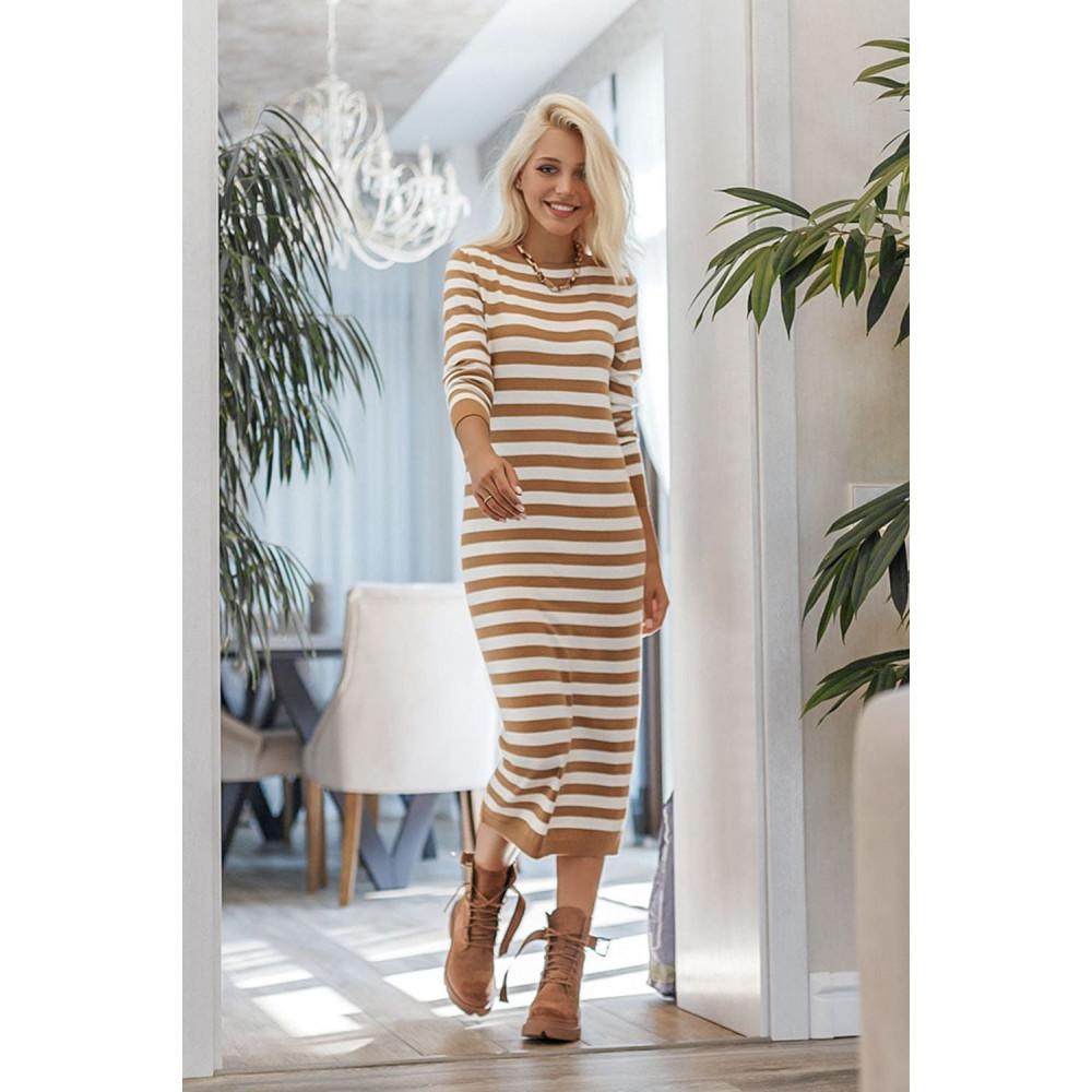 Демисезонное платье-миди в полоску Шелли фото 1