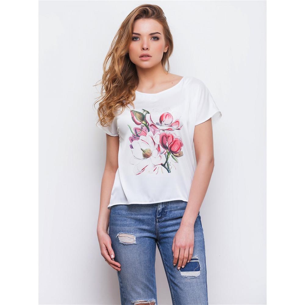 Белая блузка с нежным рисунком фото 1