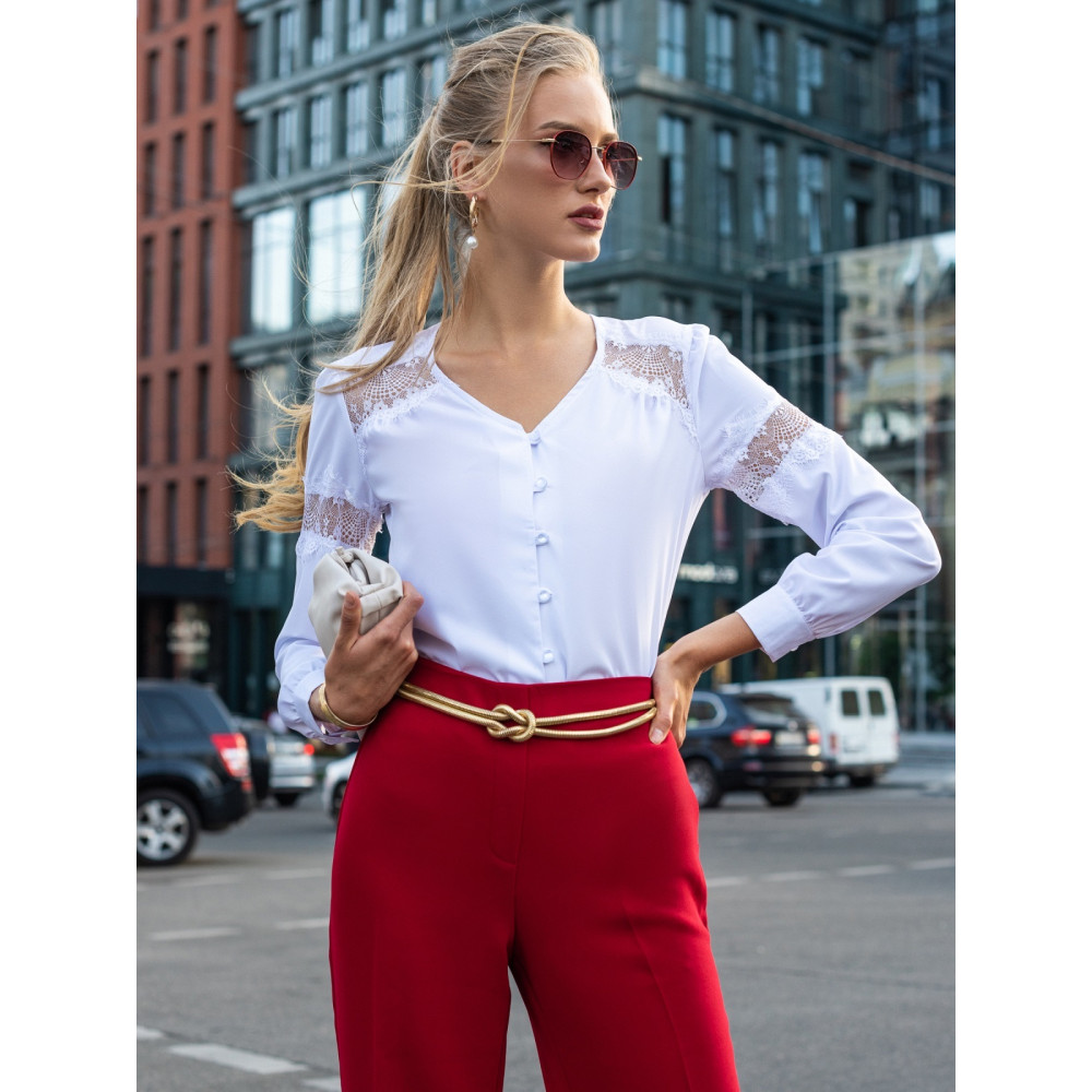 Блузка с вставками из кружева фото 2