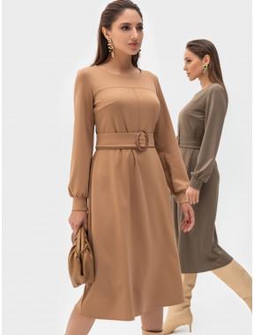 Бежевое платье в деловом стиле Эстелла