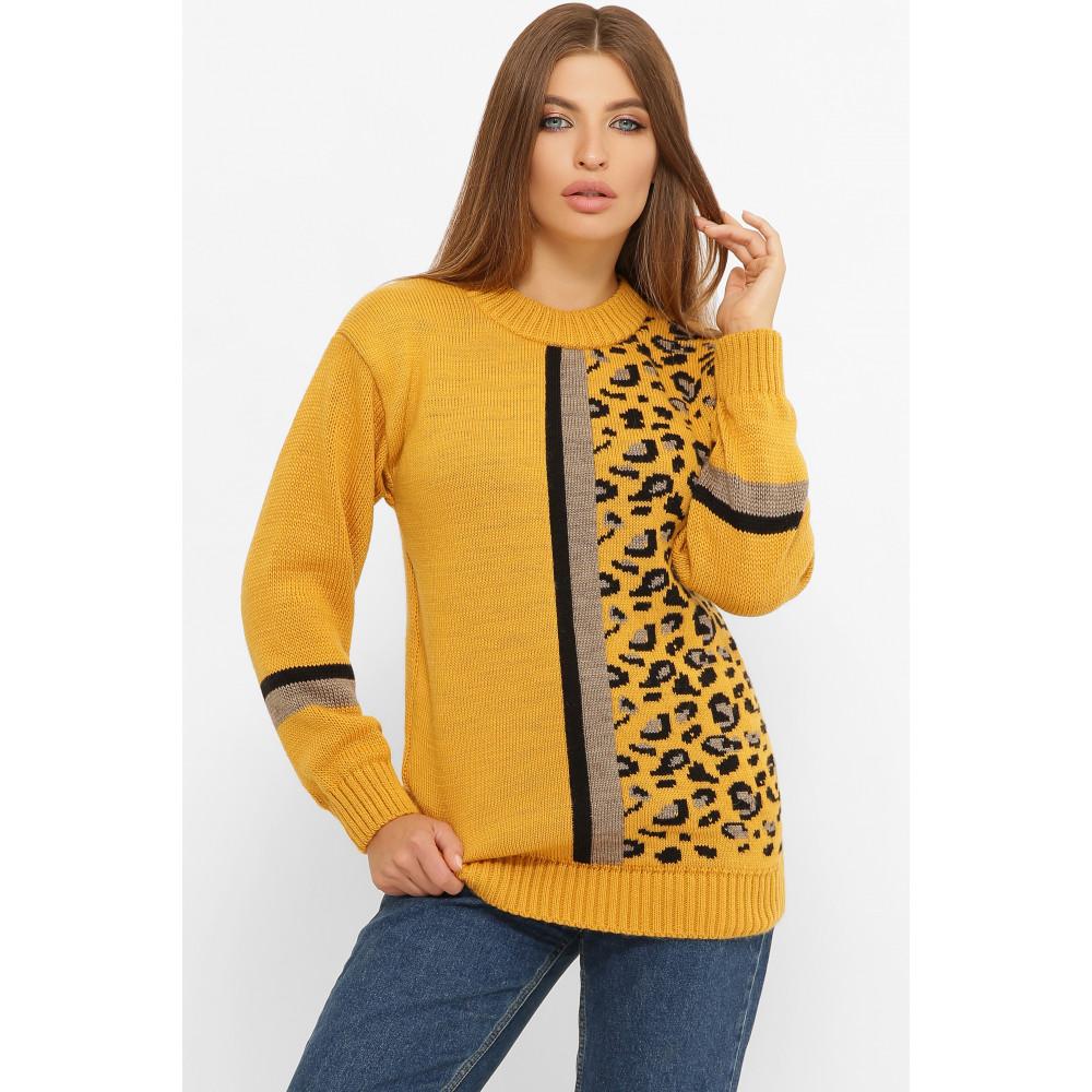 Горчичный свитер с рисунком Леона фото 1