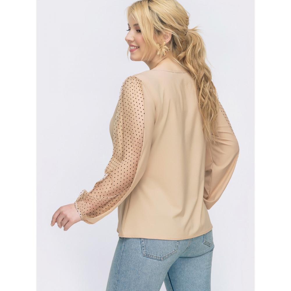 Бежевая блузка с интересными рукавами фото 2