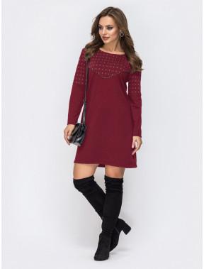 Бордовое платье-трапеция из двунитки