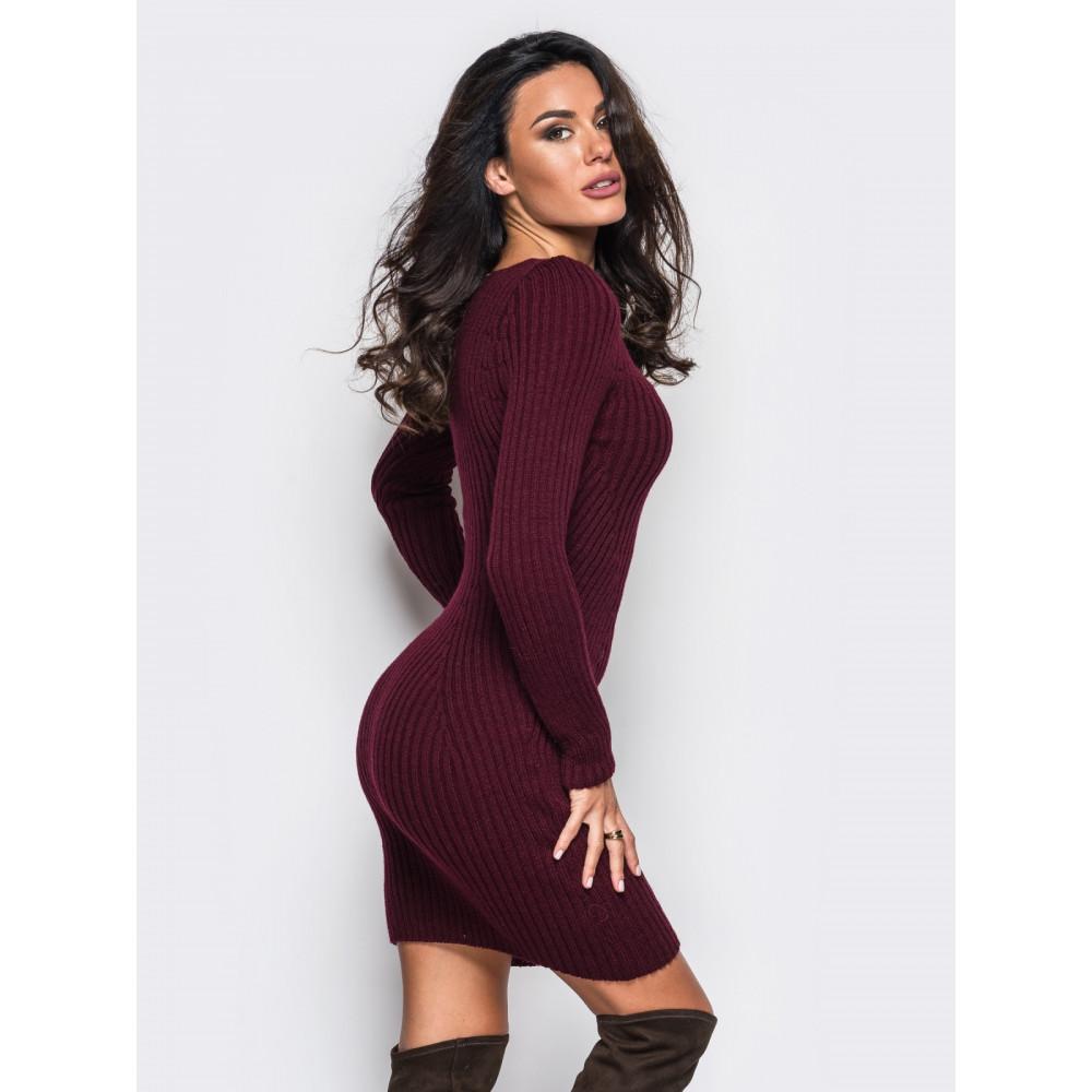 Бордовое вязаное платье Stella фото 2