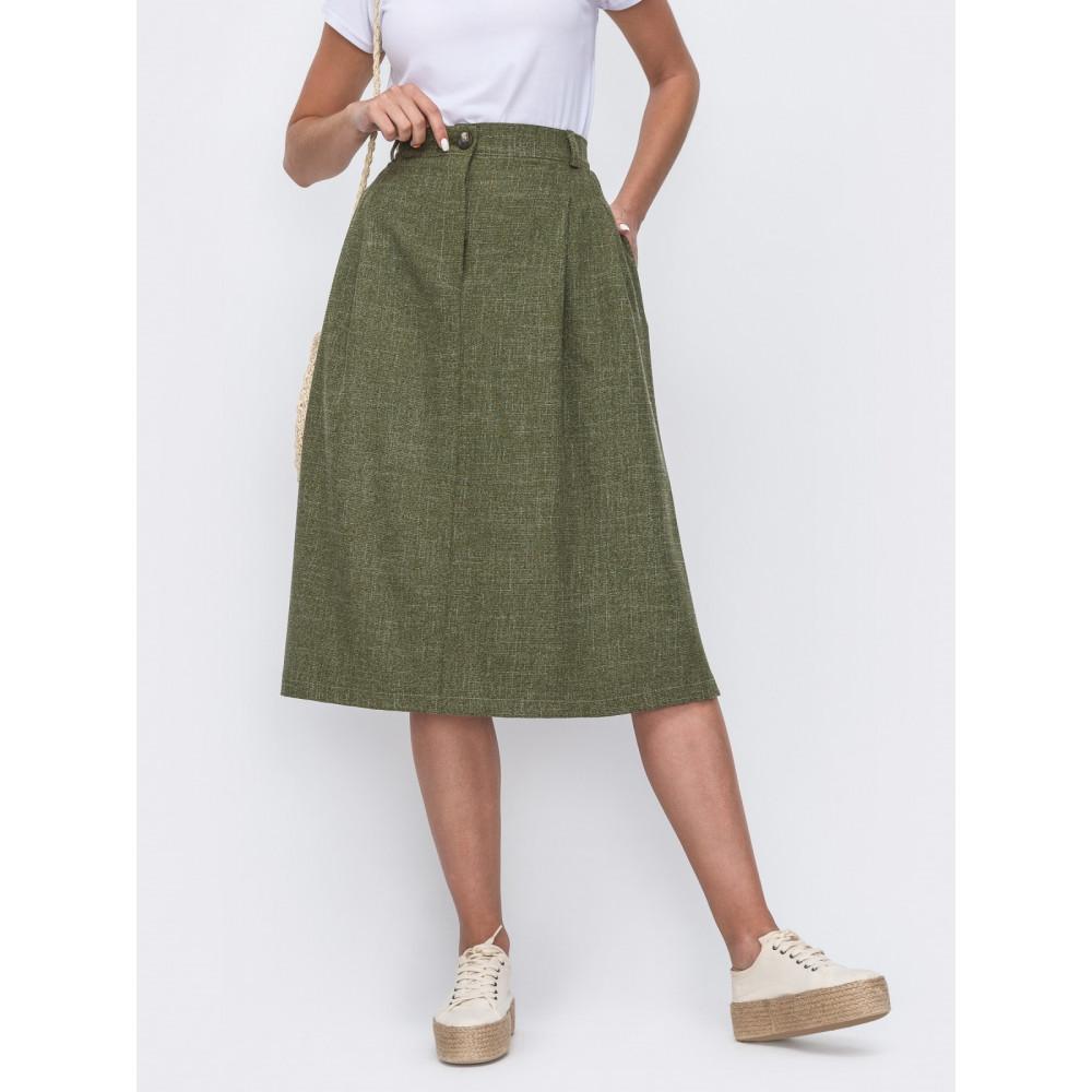 Зеленая юбка-трапеция с защипами фото 1