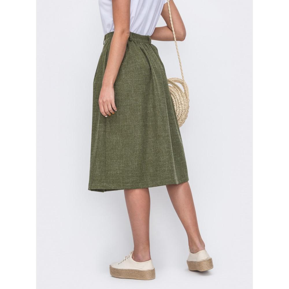 Зеленая юбка-трапеция с защипами фото 2