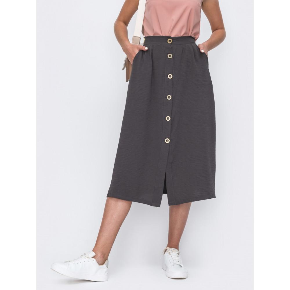 Базовая серая юбка на пуговицах фото 1