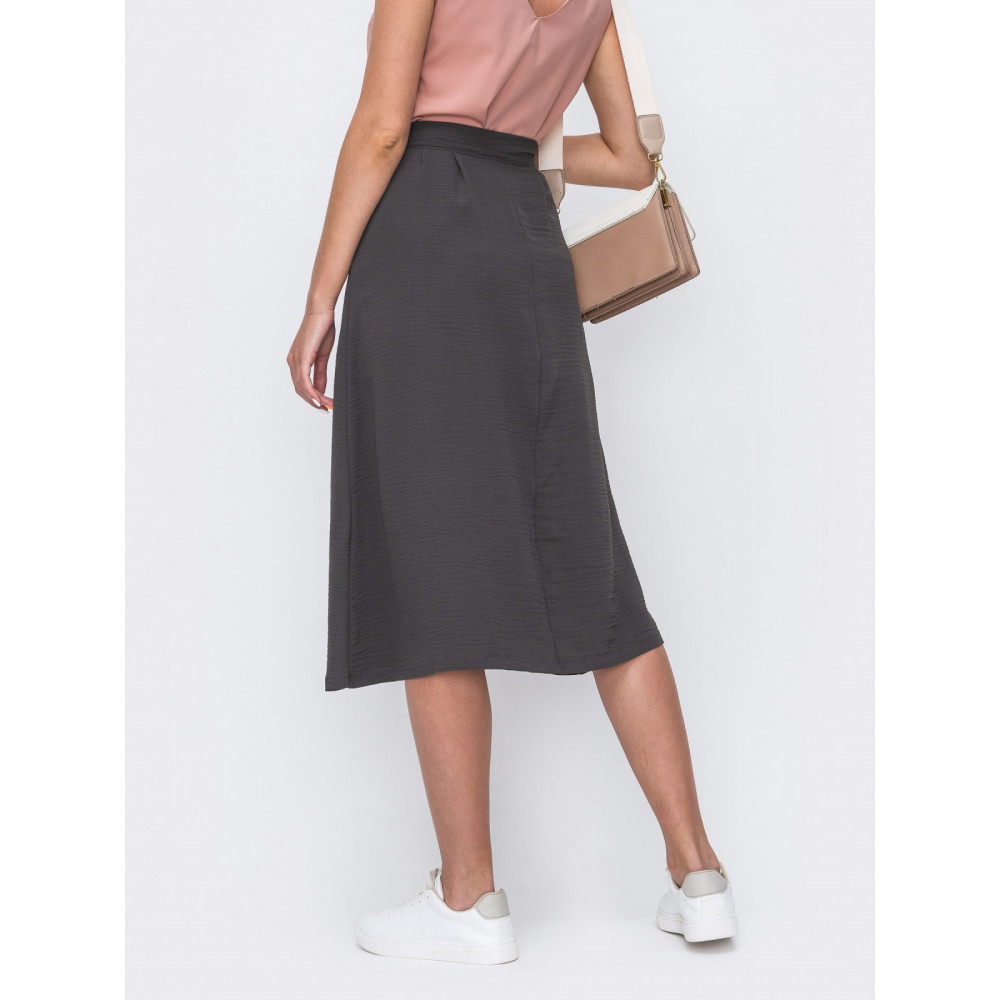 Базовая серая юбка на пуговицах фото 2
