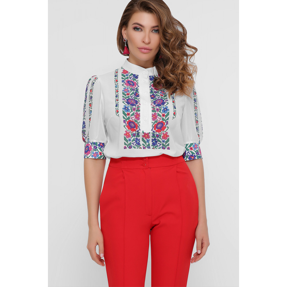 Колоритная блузка с принтом Лисанна фото 1
