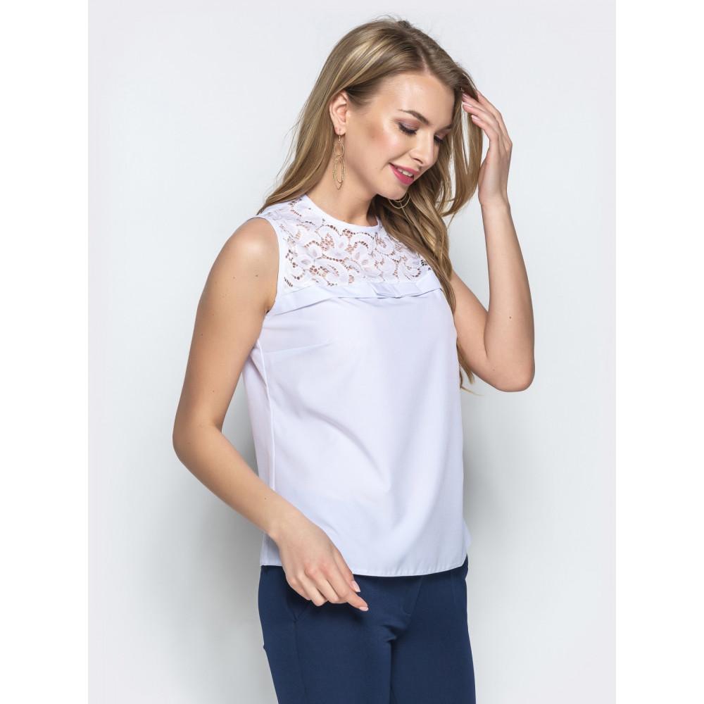 Белоснежная блузка с кружевом фото 2