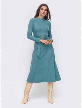 Шикарное теплое платье голубого цвета
