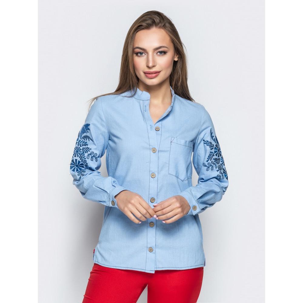 Голубая льняная рубашка с авторской вышивкой фото 1