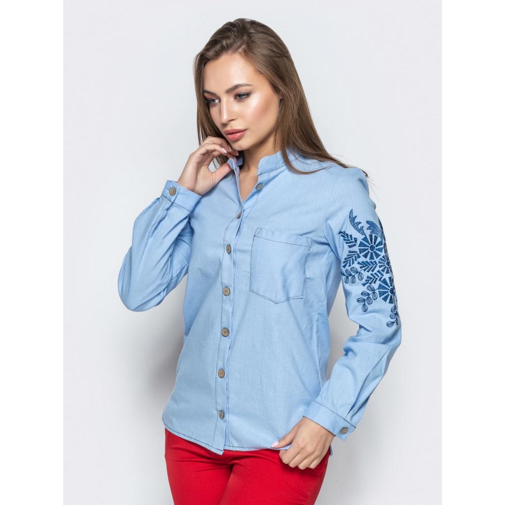 Голубая льняная рубашка с авторской вышивкой фото 2