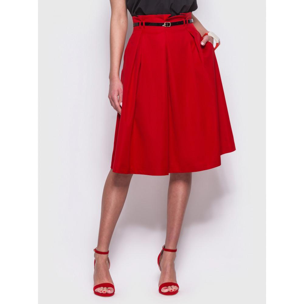 Женственная красная юбка миди фото 1