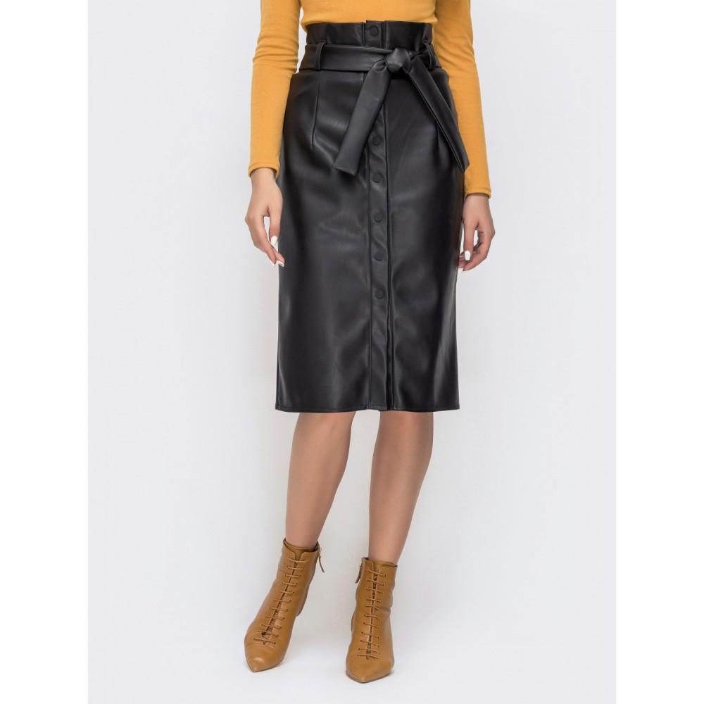 Интересная юбка-карандаш на кнопках из эко-кожи фото 1