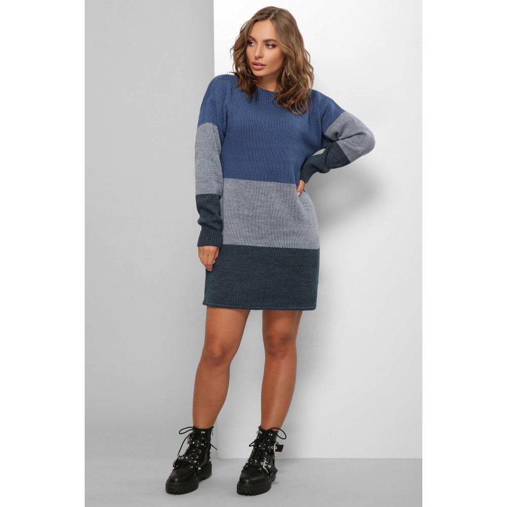 Комбинированное вязаное платье мини Валери фото 2