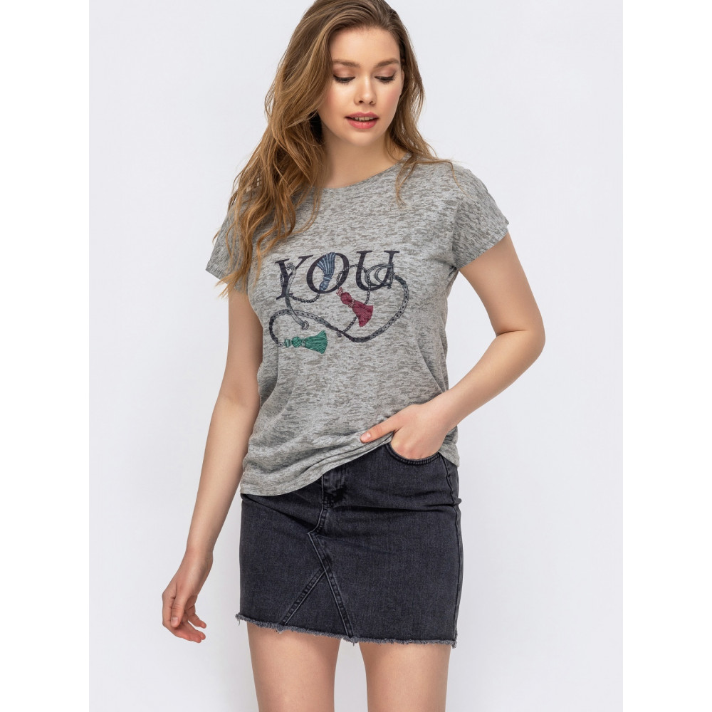 Базовая футболка с набивным рисунком фото 1