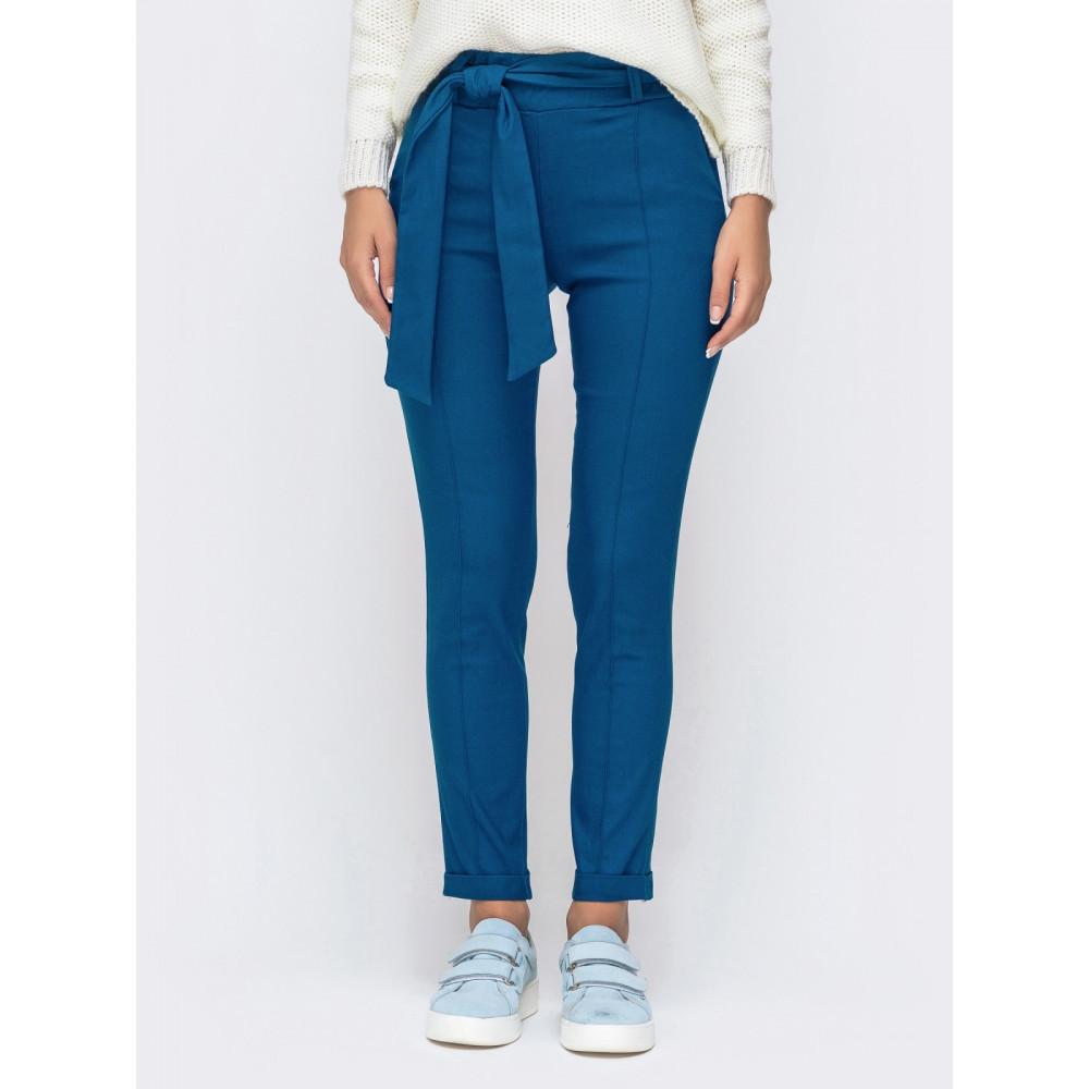 Красивые брюки-дудочки синего цвета фото 1