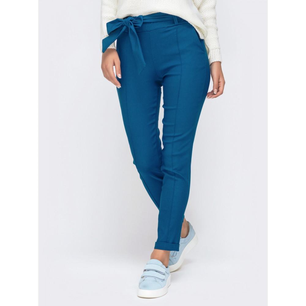 Красивые брюки-дудочки синего цвета фото 2