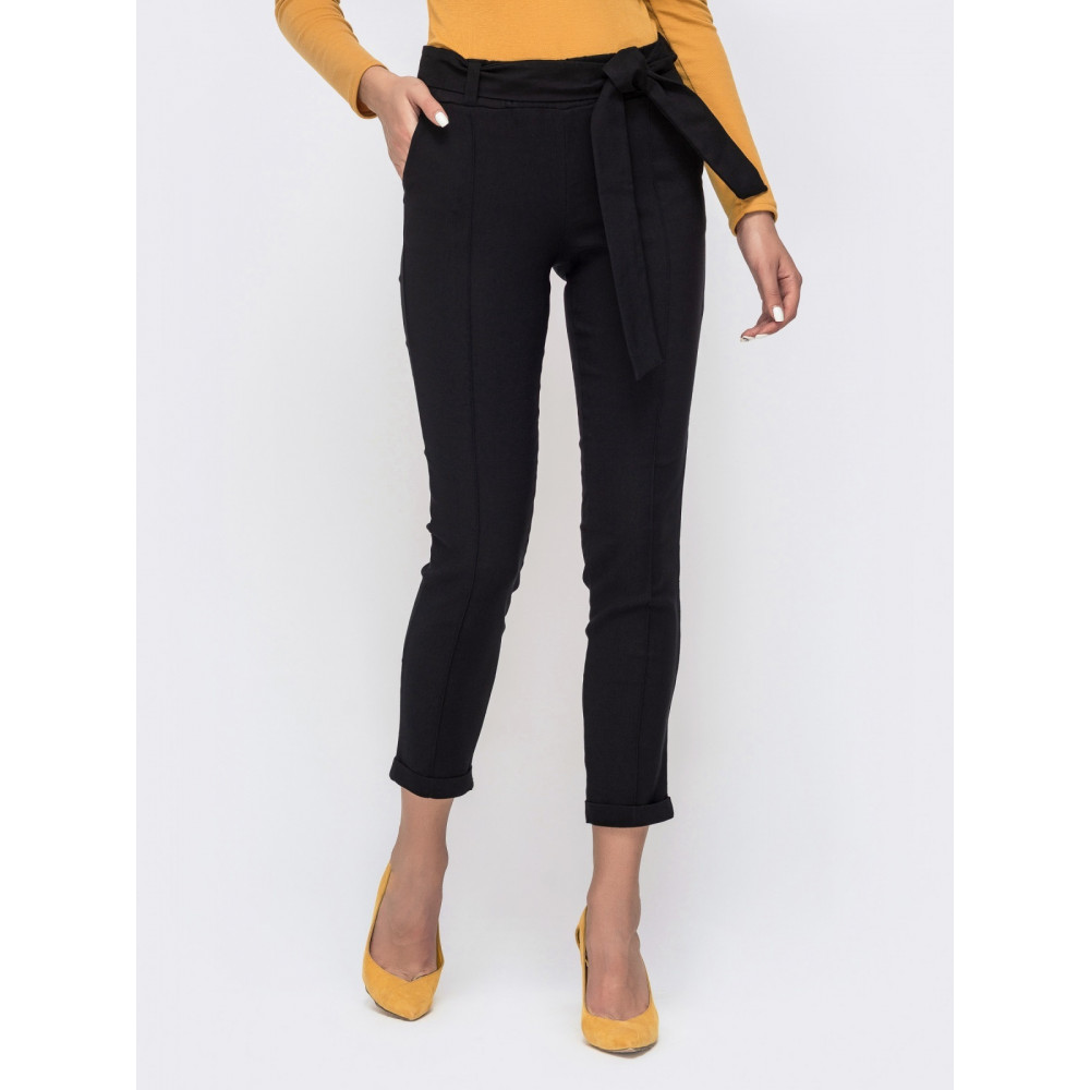 Красивые брюки-дудочки черного цвета фото 1