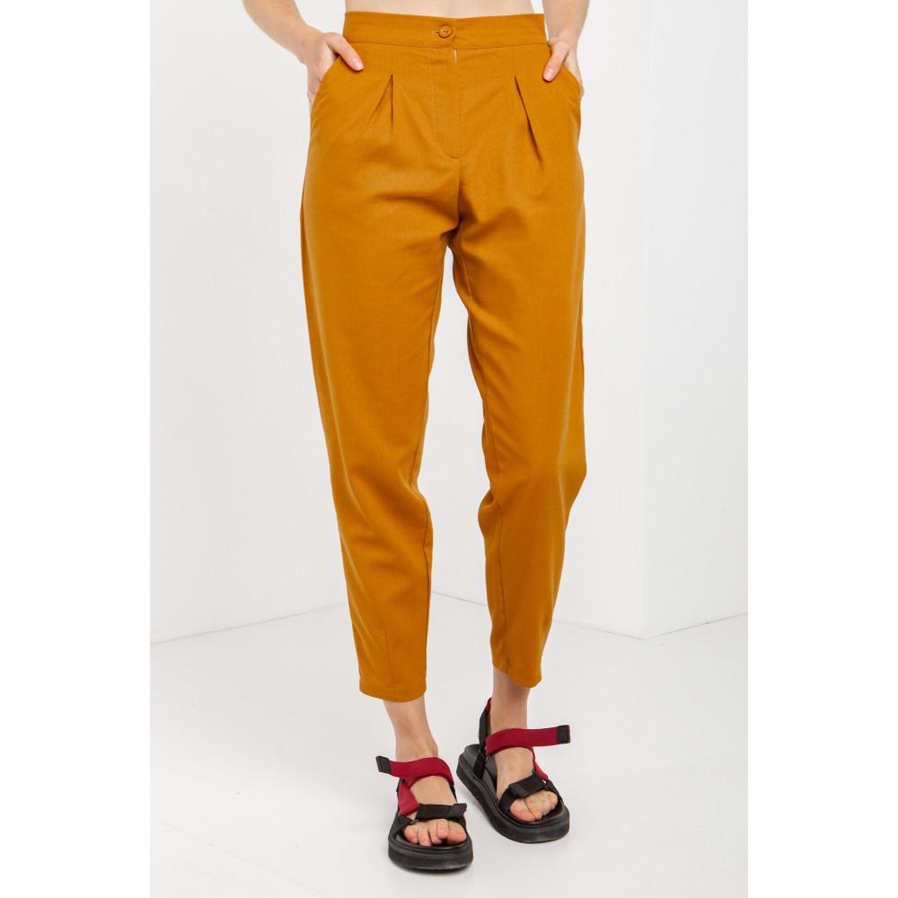 Льняные брюки горчичного цвета ANAT фото 1