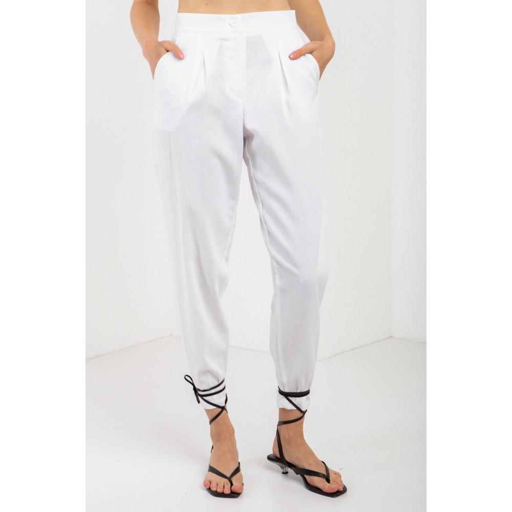 Льняные брюки белого цвета ANAT фото 1