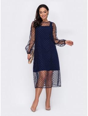 Синее платье с фатиновой накидкой в горохи Алия