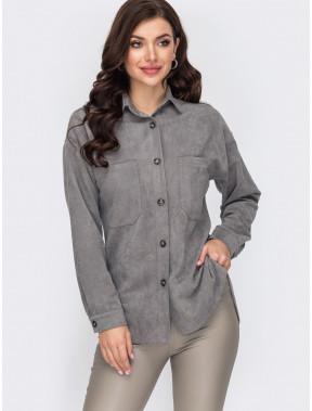 Стильная удлиненная  рубашка из замши
