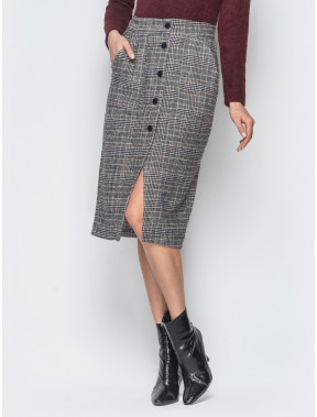 Трендовая шерстяная юбка с карманами