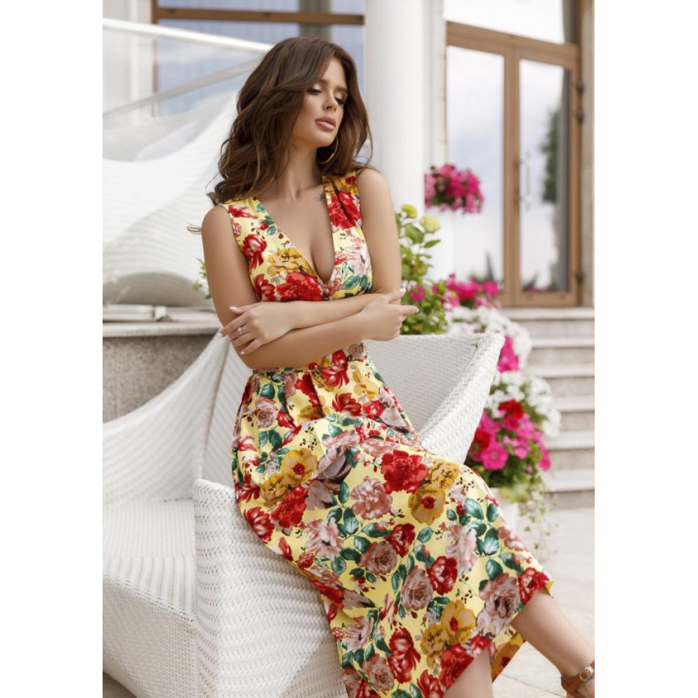 Желтое шикарное платье в цветы Аманда фото 1