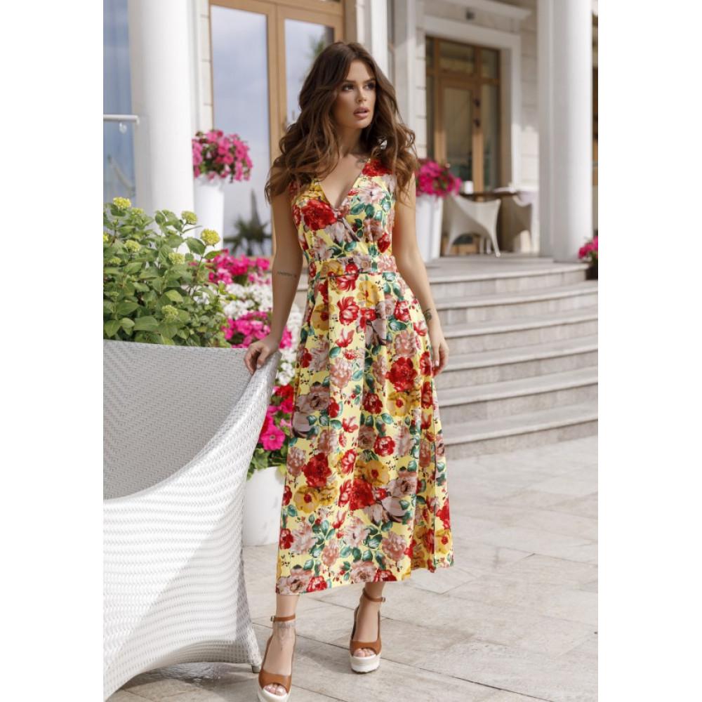 Желтое шикарное платье в цветы Аманда фото 2