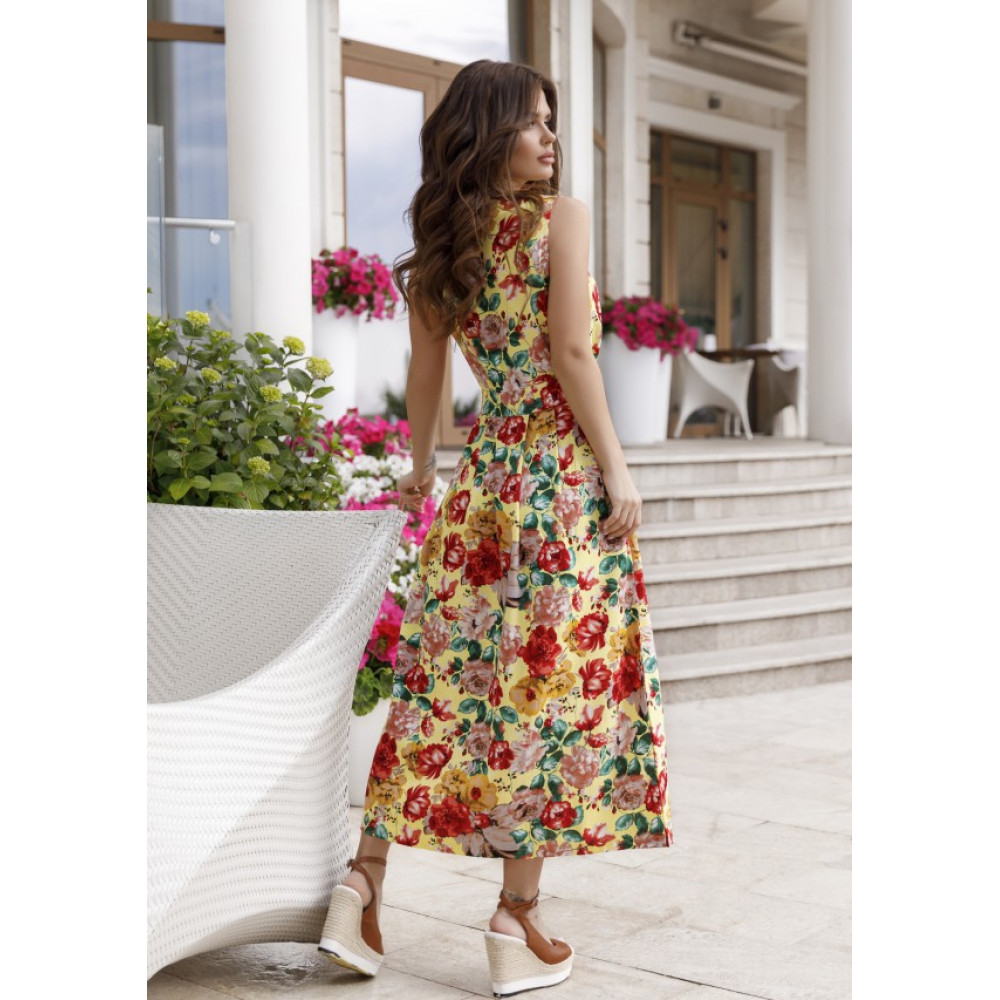 Желтое шикарное платье в цветы Аманда фото 4