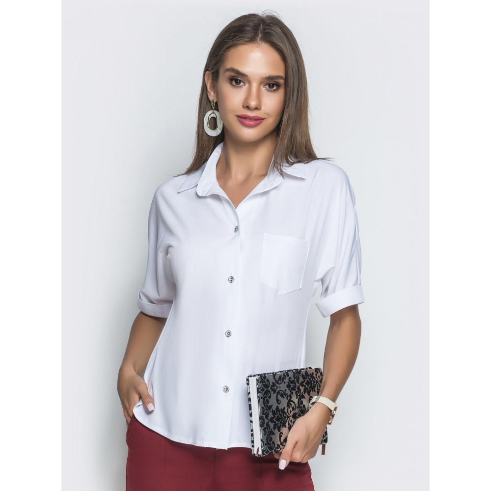 Белоснежная блуза с воротником-стойкой фото 1