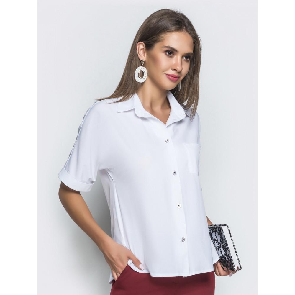 Белоснежная блуза с воротником-стойкой фото 2