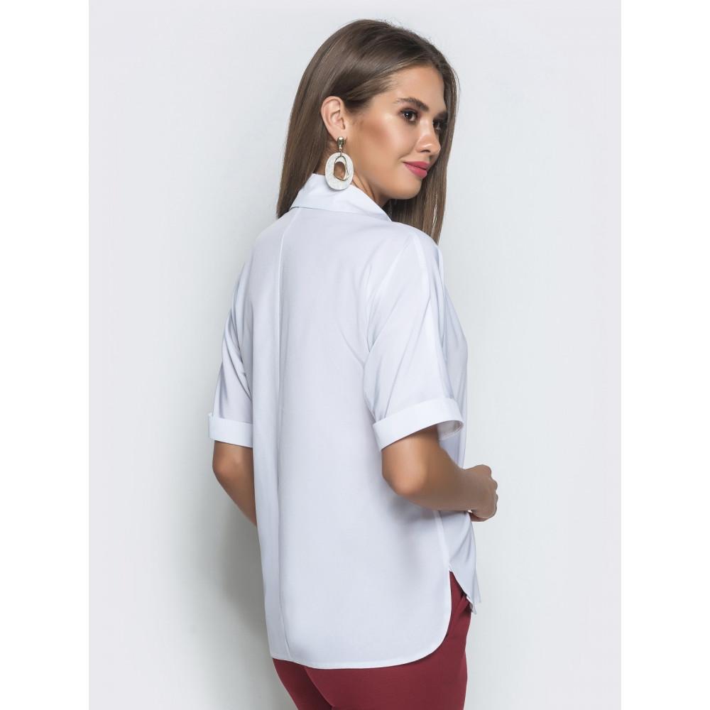 Белоснежная блуза с воротником-стойкой фото 3