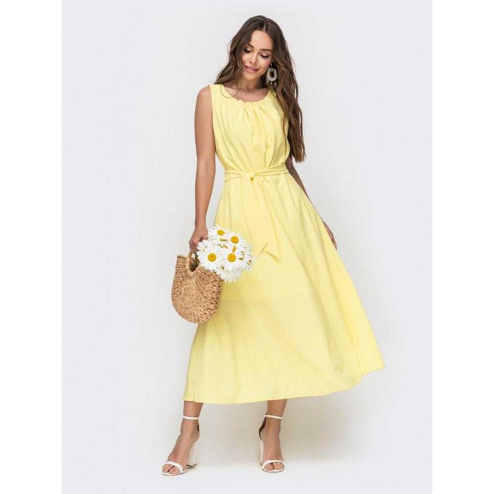 Желтое летнее платье-миди Славия фото 1