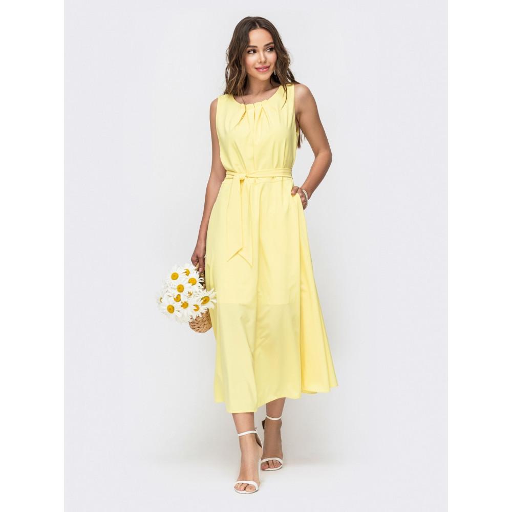 Желтое летнее платье-миди Славия фото 2